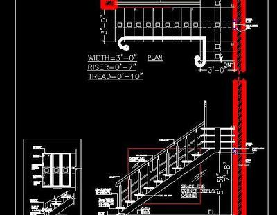 MS (Mild Steel Staircase and Railing Design - Autocad DWG ...