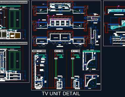 contemporary design tv unit autocad dwg plan  design