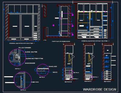 Sliding Wardrobe With Glass Shutters Dwg Detail Autocad