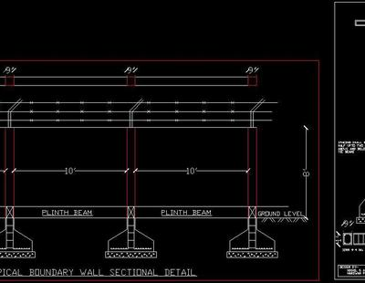 Boundary Wall Structure Detail Autocad Dwg Plan N Design