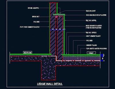 Toilet Ledge Wall And Floor Sectional Detail Autocad Dwg