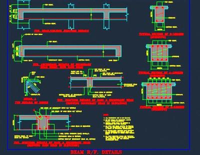 Typical Beam Reinforcement Structure Design Autocad Dwg