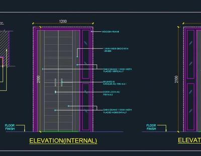 Modern Flush Main Door Detail Autocad Dwg Plan N Design