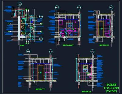 Toilet Design Detail 5 9x9 Autocad Dwg Plan N Design