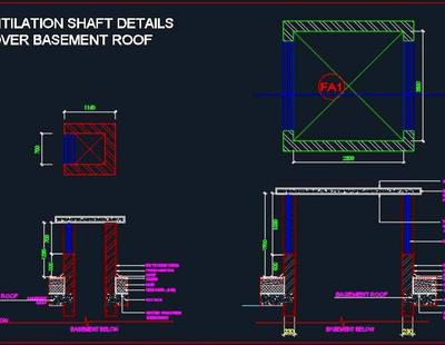 Ventilation Shaft Detail Over Basement Roof Autocad Dwg