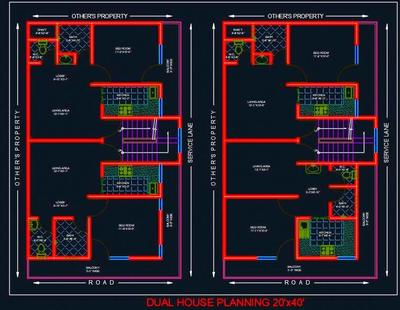 Dual House Planning Floor Layout Plan 20 X40 Dwg Drawing Autocad Dwg File Plan N Design