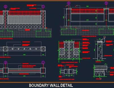 Boundary Wall Detail Autocad Dwg Plan N Design