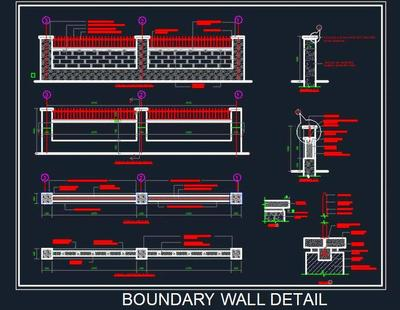 Boundary Wall Elevation And Details Autocad Dwg File