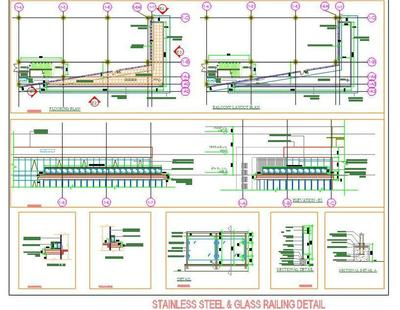 Stainless Steel And Glass Railing Detail Autocad Dwg