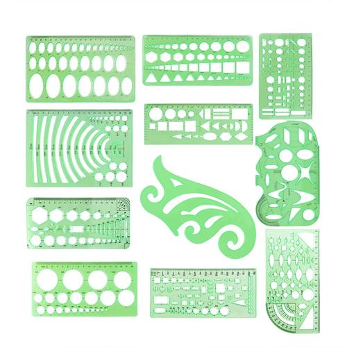 11 Pieces Geometric Stencils for Drawing Circle Templates Set