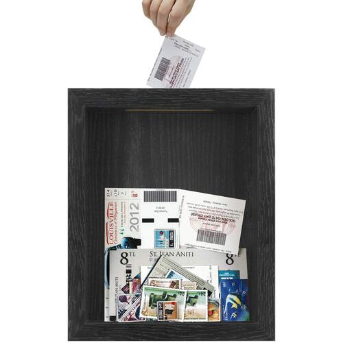 Shadow Box with Slot | 8x10 Shadow Box Frame | Top Loading Shadow Box | Blank Ticket Stubs Holder | Memory Box, Solid Black
