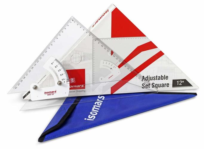 "Isomars Adjustable Set Squares - 10"" - Made by Acrylic with Permanent Engraved Marking"