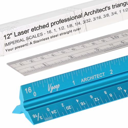 "Architectural Scale Ruler, Engineer Drafting, Triangular - American Standard. 3 Sides, 11 Scales. Made of Laser Engraved Anodized Turquoise Aluminum. 12"" Long. 100% Accuracy. Bonus Steel Ruler"
