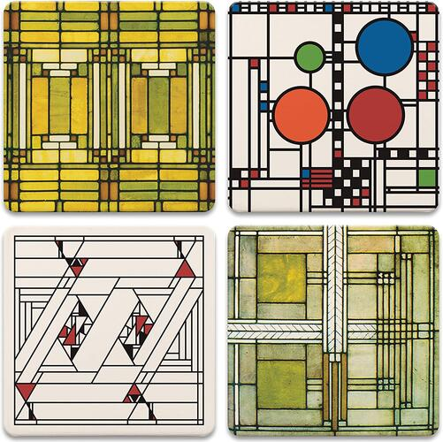 CoasterStone AS305 Absorbent Stone Coasters, Frank Lloyd Wright, Art Glass Designs, Multi-Colored