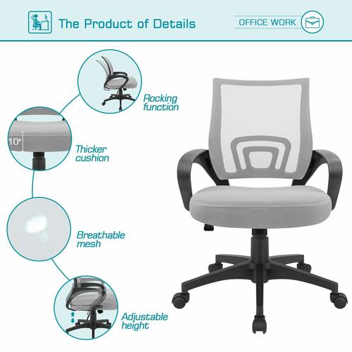 Devoko Ergonomic Office Chair Mid Back Swivel Mesh Chair Height Adjustable Lumbar Support Computer Desk Chair with Armrest (Grey)