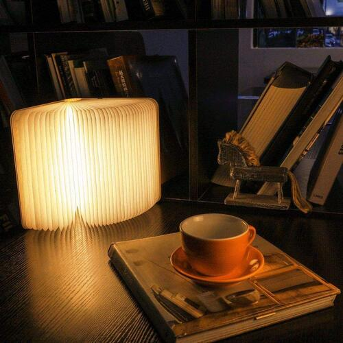 Giftana Mini Wood Book, Book Shaped Book Lamp Rechargeable LED Portable Table Lamp Foldable Night Lamp Home Decoration Lights Valentine Book Lovers Book Reading Light (Walnut Wood)