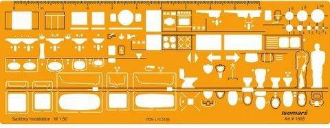 Isomars 1:200 Scale Architectural Drawing Template Stencil- Furniture Symbols