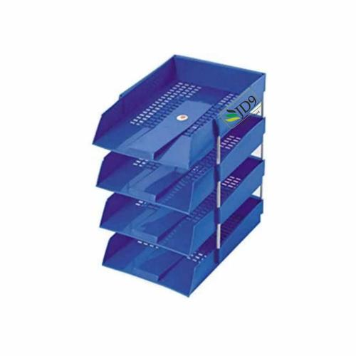JD9 Office Tray, File Tray, Document Tray, Paper Tray A4 DocumentsFilesPapersLettersfolders Holder Desk Organizer (Blue) (4 Tier)