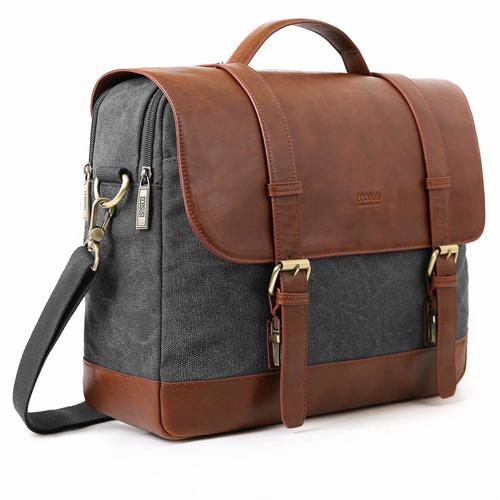 Messenger Bag- ECOSUSI 15.6 inch Laptop Messenger Bag Vintage Briefcase Computer Satchel Shoulder Bag with Multiple Compartments for Men and Women, Grey