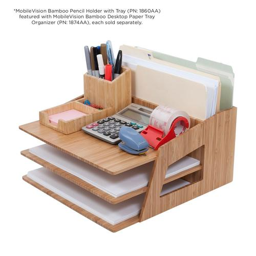 MobileVision Office Desktop Bamboo Organizer for Files, Paper Tray, Letter Sorter, Document Holder, 5 Sections