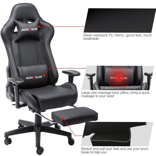 Nokaxus Gaming Chair Large Size High-Back Ergonomic Racing Seat with Massager Lumbar Support and Retractible Footrest PU Leather 90-180 Degree Adjustment of backrest