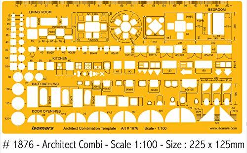 Isomars 1:100 Scale Architectural Drawing Template Stencil - Architect Combination Templates