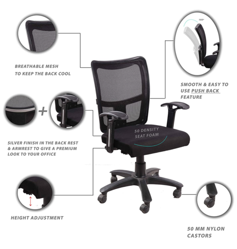 "Click to open expanded view Seat chacha Brio Home Office Chair with Nylon Base & castors 26""*24""*37"" Office Chair with 360 Degree Swivel & Adjustable Height (Nylon, Black)"