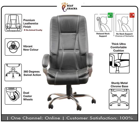 Seat chacha Vieena High Back Boss Manager Wood Revolving Office Chair (