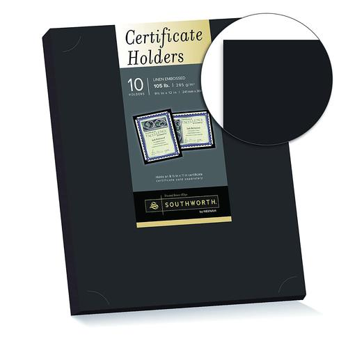 "Southworth Certificate Holder, 9.5"" x 12"", 105 lb, Black Linen Finish, 10 Count - Packaging May Vary (PF18)"