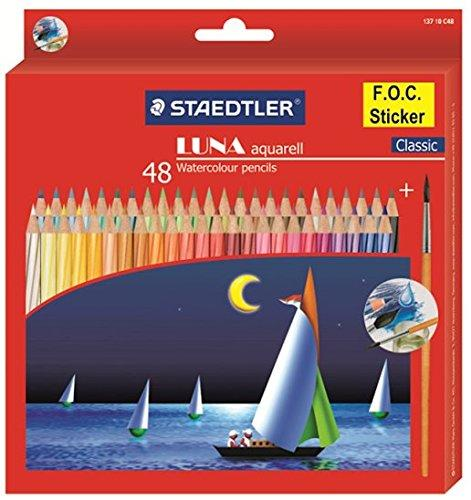 Staedtler 137 C 48 Luna Water Colour Pencil - Pack of 48 (Multicolour) with Free Gift Combo