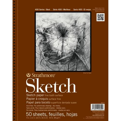 Strathmore 400 Series Sketch 9''x12'' White Fine Tooth 89 GSM Paper, Long-Side Micro-perforated Album of 50 Sheets