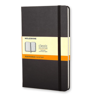 A Ruled Notebook – Moleskin Large Ruled Hard Cover Notebook