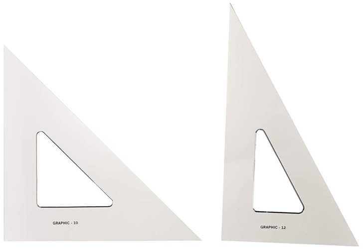 "Alvin AS1012 10"" & 12"" Transparent Triangle Set"