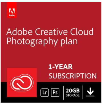 An editing software - Adobe Creative Cloud Photography plan 20GB: Photoshop + Lightroom