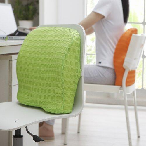 Health Sense Soft-Spot BC 21 Memory Foam Back Cushion and Orthopedic Backrest Pillow with Lumbar Support (Grass Green)
