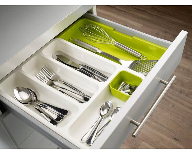 House of Quirk Drawer Store Expandable Cutlery Tray - Green