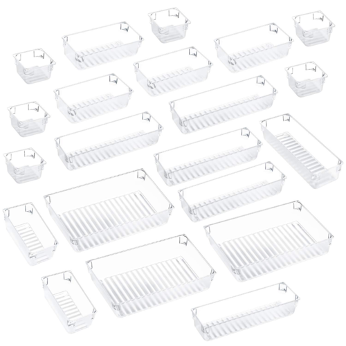 Kootek 21 Pcs Desk Drawer Organizer Trays 4-Size Bathroom Drawer Tray Plastic Storage Organizers Bins Customize Layout Dividers for Cosmetic Makeup Dresser Kitchen Flatware Cutlery Office Accessories