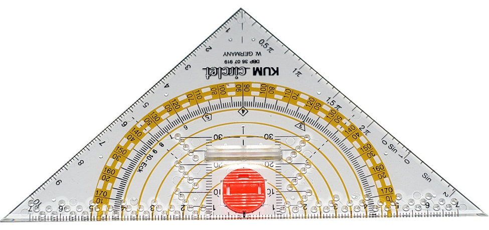 Kum 209.12.01 16cm PMMA Crystal Clear Acrylic Compass Triangle