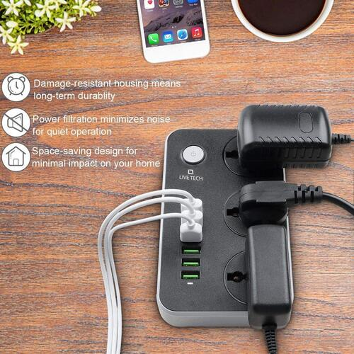 Live Tech PS06 with 6 USB 3 Universal Sockets 3.4 A Smart Spike Power Strip Auto-ID USB with Extension Cord with USB Port and Surge Protector Ports with Indicator, 2 mtr, Free 2 Charging Cable (PS06)