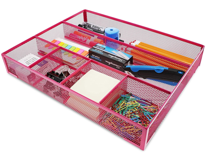 Pink Mesh Metal Office Desk Drawer Organizer Tray, 15 x 12 x 2.5 Inche