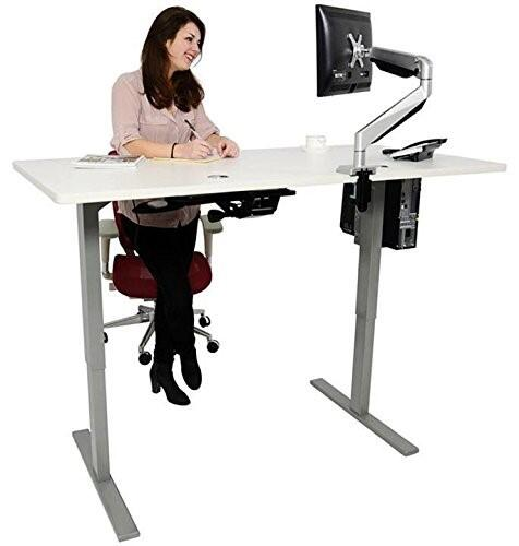 Rife Automatic Electric Adjustable Base Height Sit-Stand Standing Desk Frame with Tabletop 120 by 60 cm, has Memory Functions