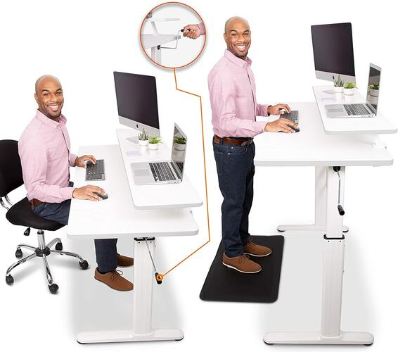 "Stand Steady Tranzendesk 55 in Standing Desk w/Clamp-On Shelf | Easy Crank Height Adjustable Stand Up Workstation w/Attachable Monitor Riser | Supports 3 Monitors & Adds Extra Desk Space (55""/White)"
