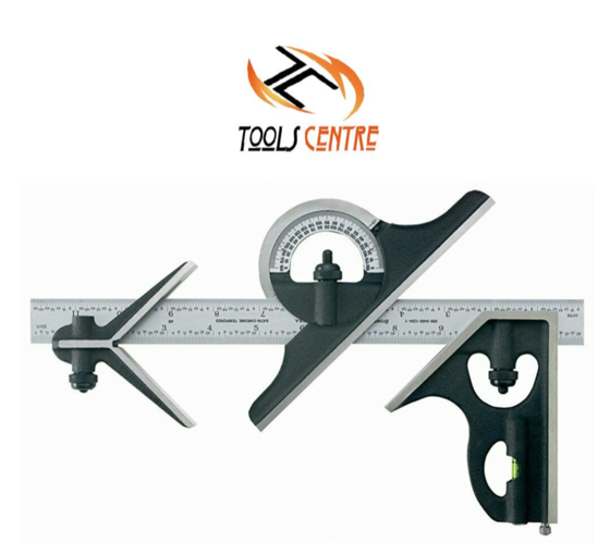 TOOLSCENTRE Metal 12 inch Pitsburgh Combination Square Set with 12 Inch Blade (Grey Black)