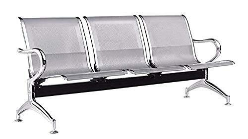 AASHIRWAD Airport Chair Three (3) Seater Waiting Area Chair Visitor Reception Chair in Chrome Finish