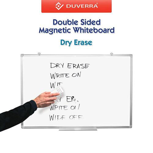 DUVERRA Whiteboard Double Sided Drywipe Magnetic with Pen Tray, Excellent for Office and Home - 60 cm x 90 cm (2 x 3 ft.)