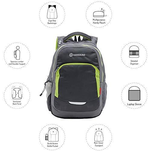 Harrison's Xeno 33 Ltrs Black Green (15.6 inches) Laptop Backpack/Bag for Men and Women with 3 compartments and Waterproof rain Cover.