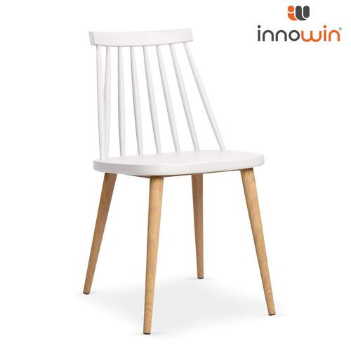 INNOWIN Elegant Design Mild Steel Legs and Wooden Finish Coating Bunny Side Chair for Dining, Cafeteria, Living Room, Office(White)