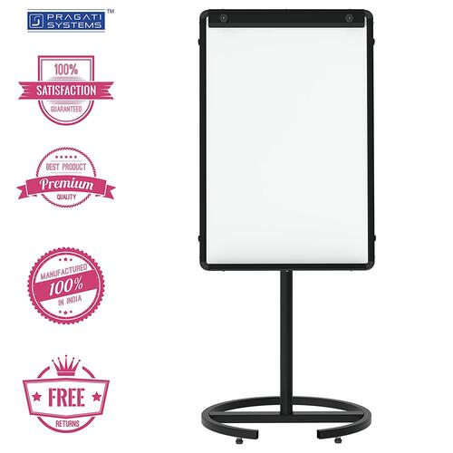 PRAGATI Systems® Mobile Flip-Chart Easel Stand with Prima Resin Coated Steel (Magnetic) Whiteboard for Office, Home & School, 2x3 Feet, Jet Black