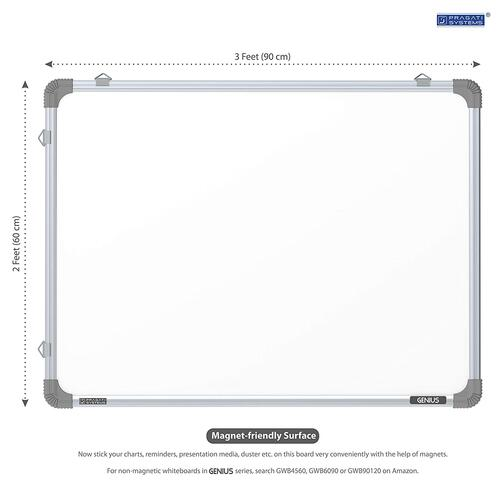 PRAGATI Systems® Genius Regular Steel (Magnetic) Whiteboard for Office, Home & School (GRMWB6090), Lightweight Aluminium Frame, 2x3 Feet (Pack of 1)