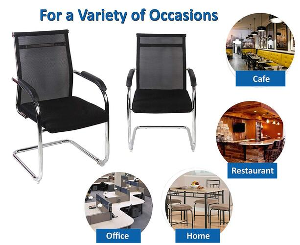 SEAT CHACHA Comfort Visitor Series Home Office Visitor Chair in Black mesh and Chrome finish with polypropylene arms.